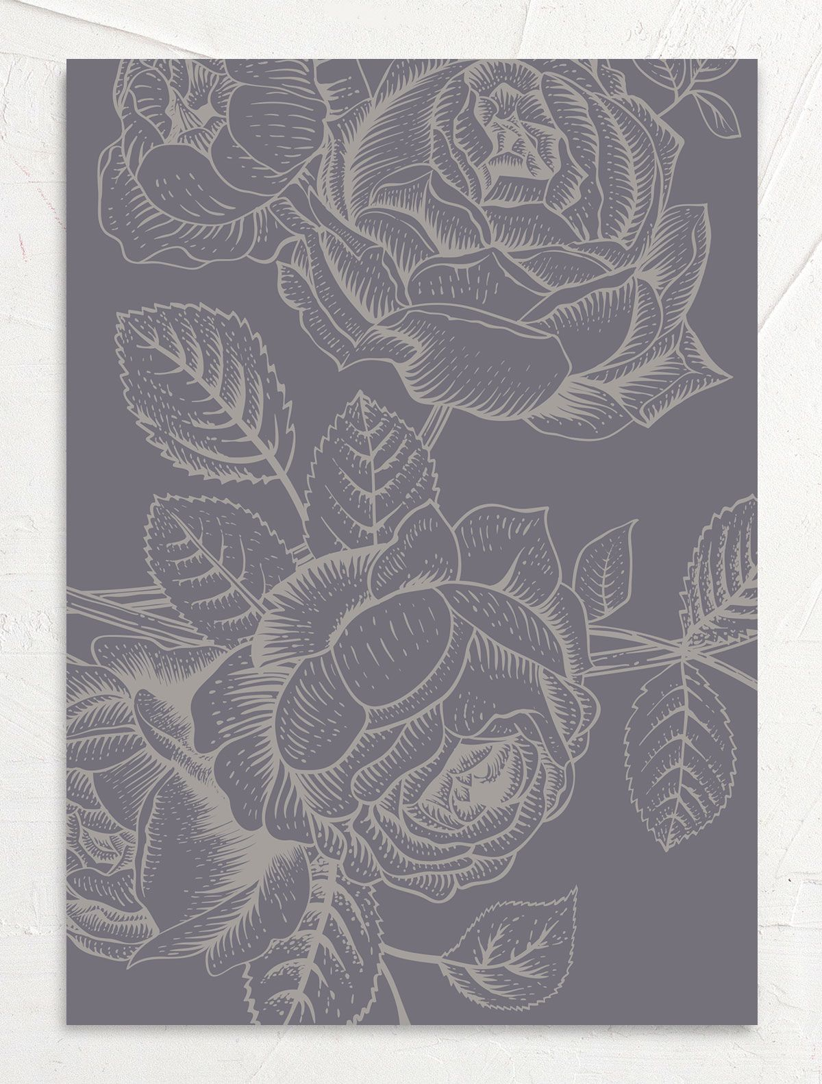 Etched botanical wedding invitations back
