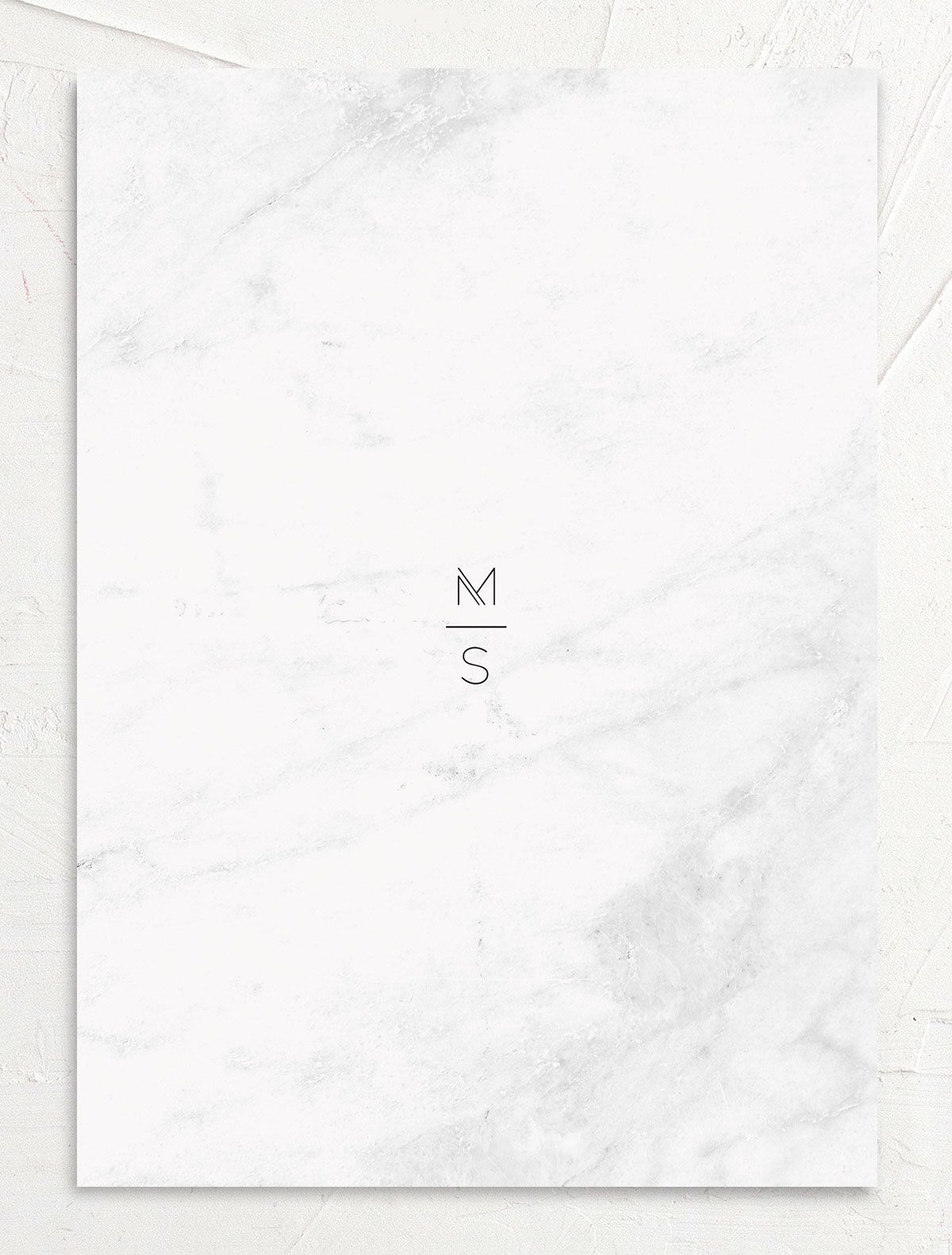 Geometric marble modern wedding invitations back