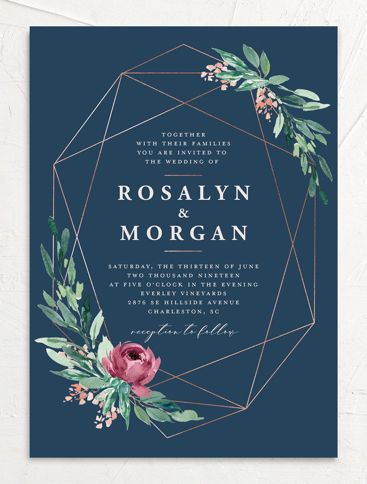 Gilded Botanical invitation front