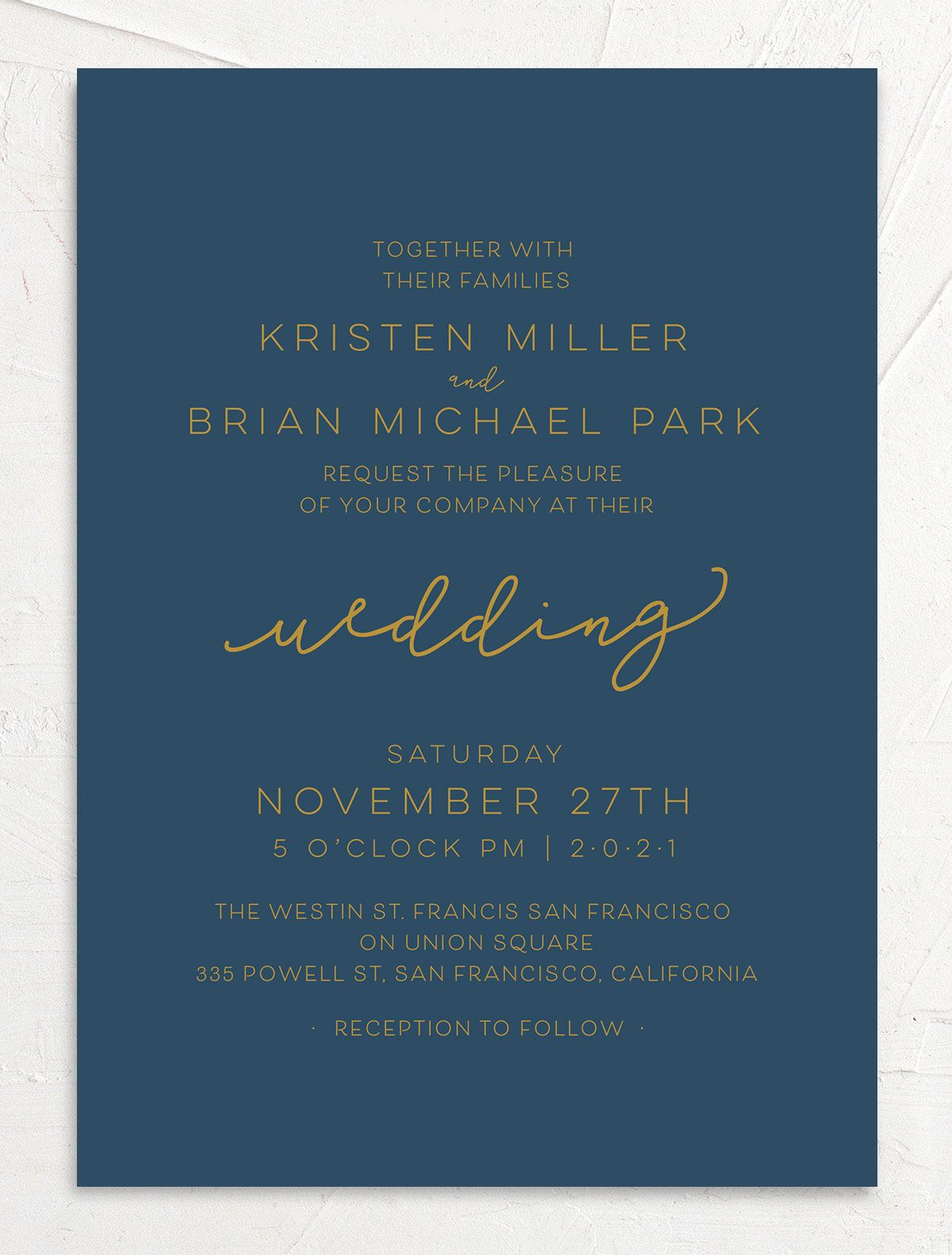 Gold Calligraphy Wedding Invitations front blue