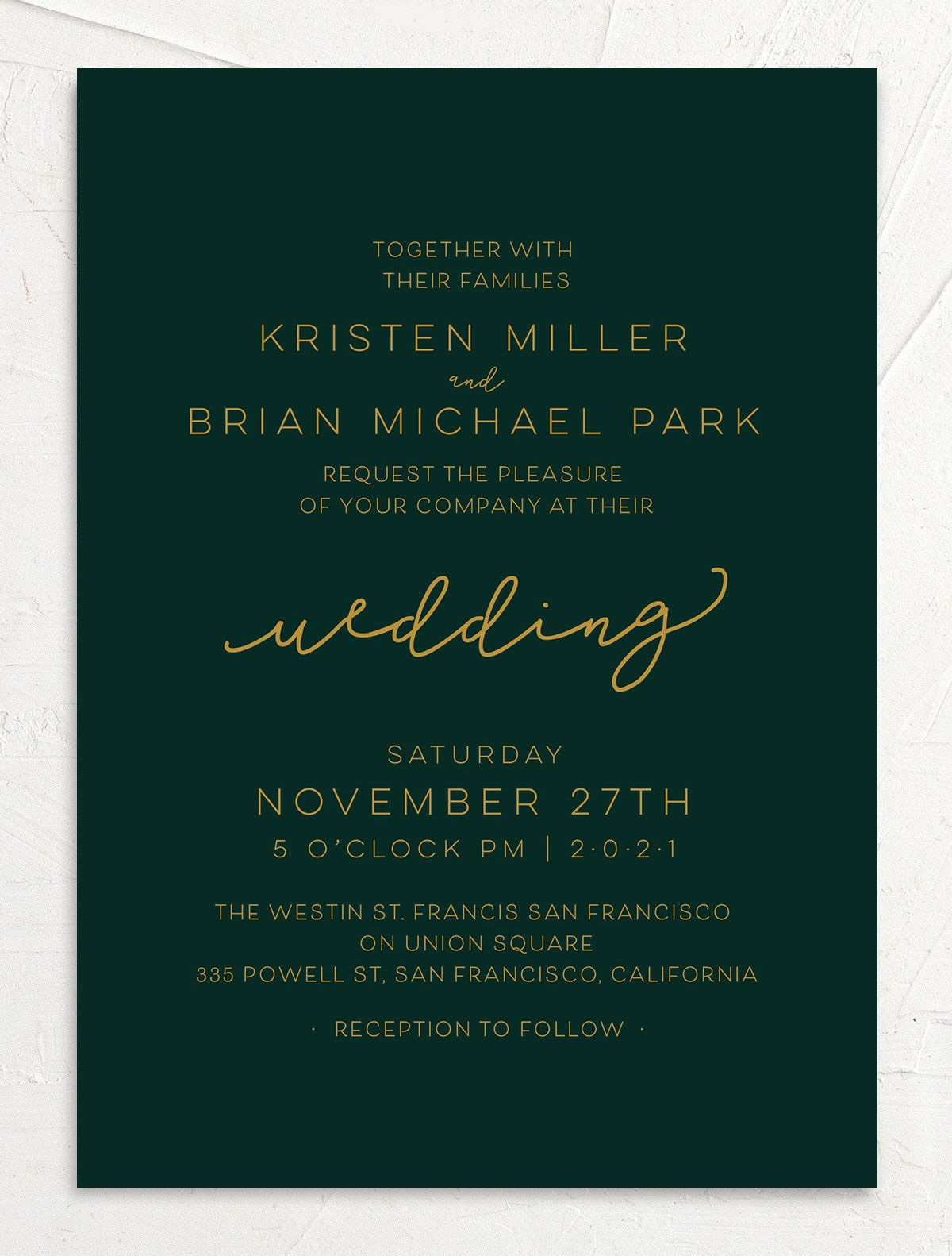 Gold Calligraphy Wedding Invitations front green