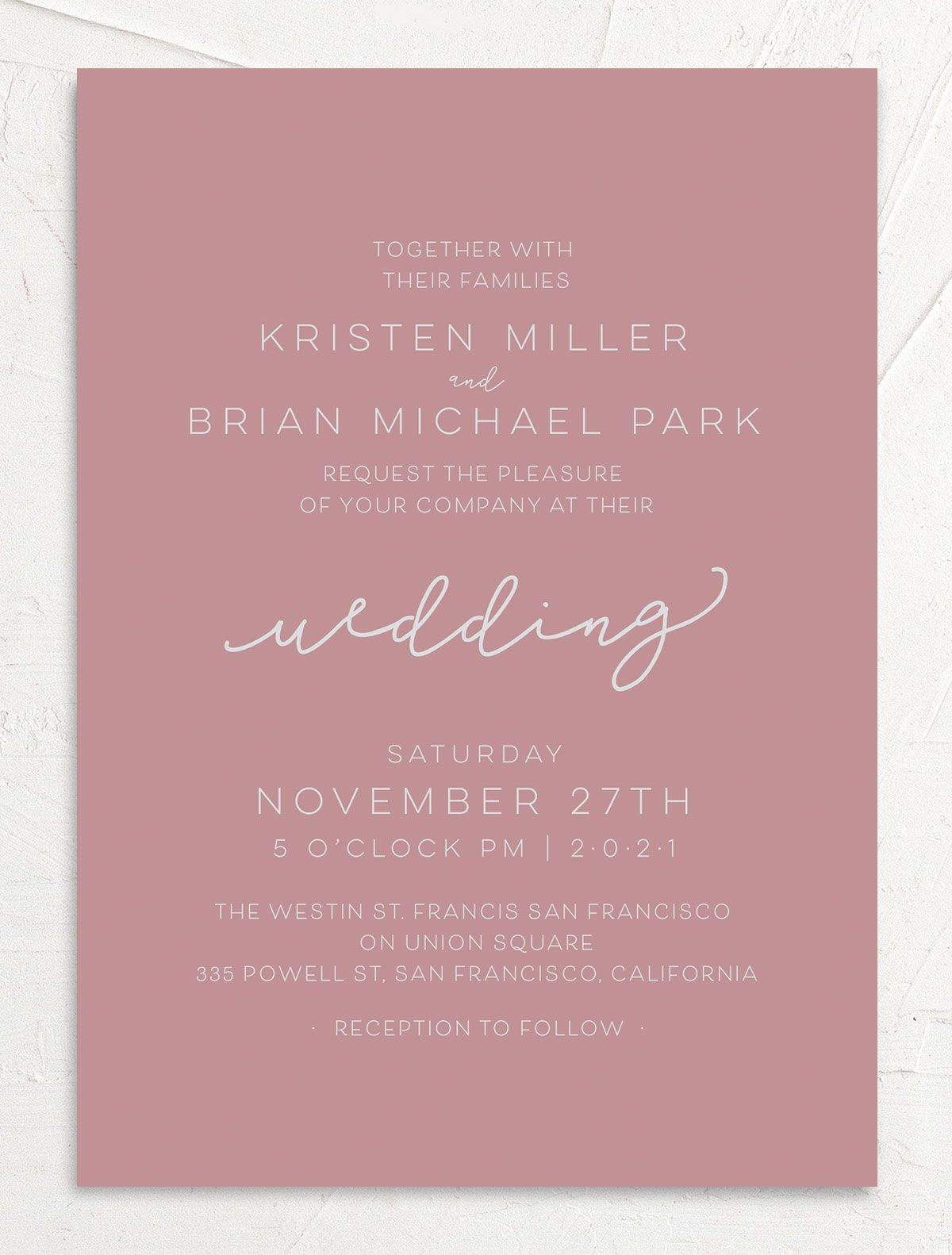Gold Calligraphy Wedding Invitations front pink