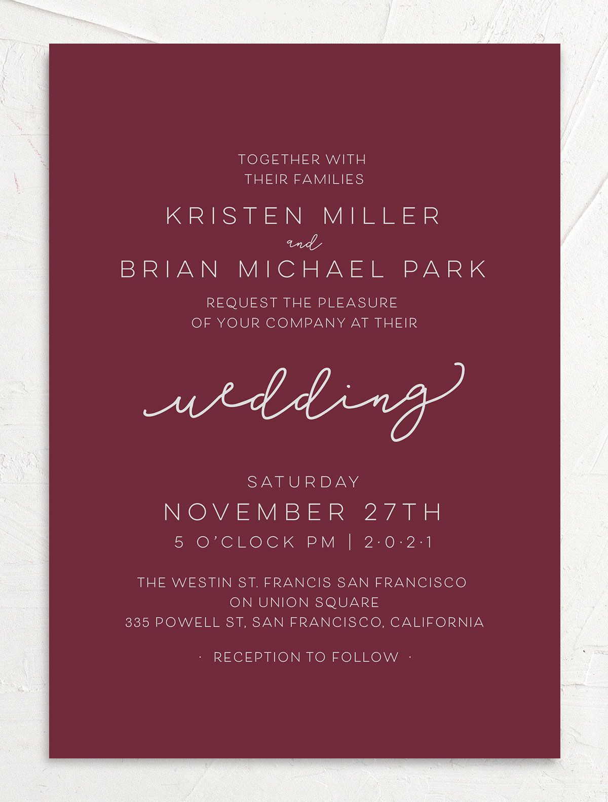 Gold Calligraphy Wedding Invitations front red