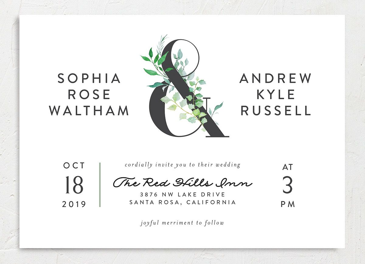 leafy ampersand wedding invites in green