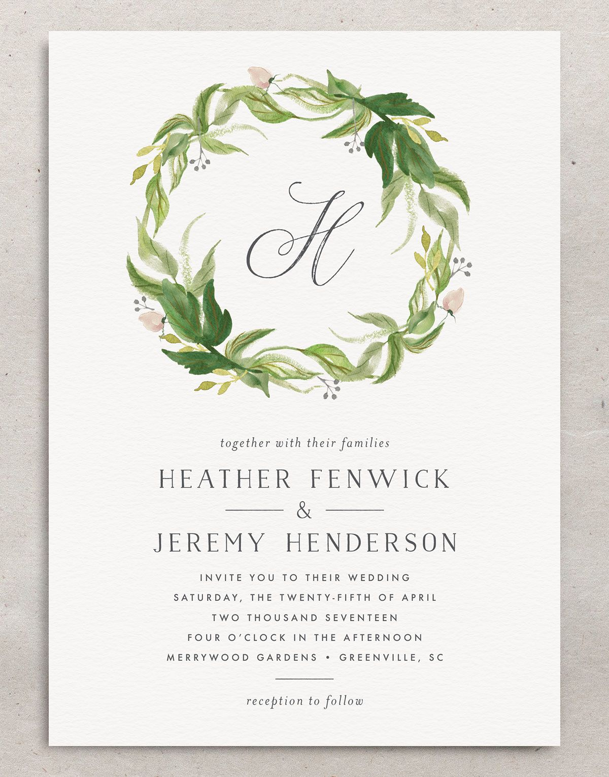 leafy wreath wedding invites in green