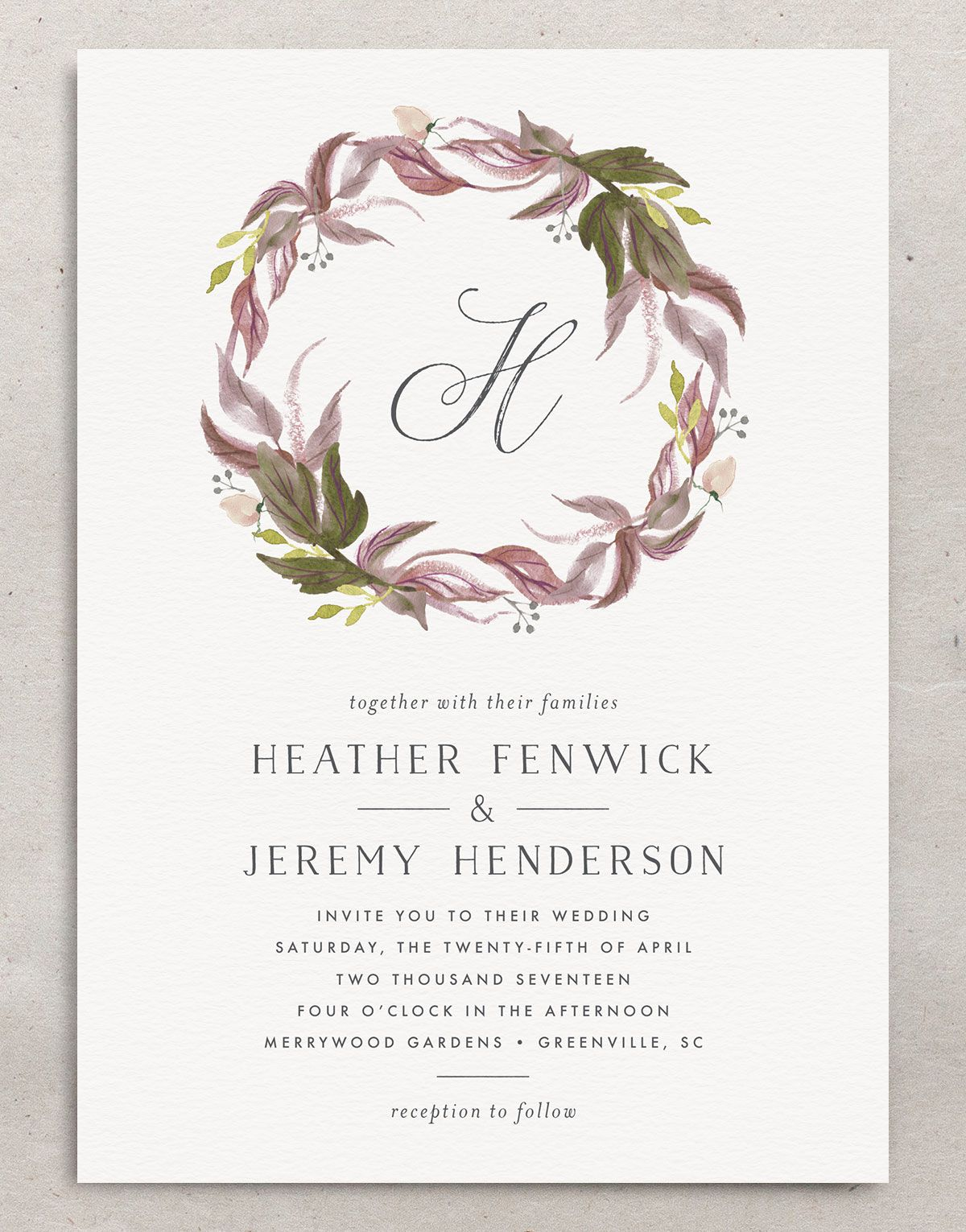 leafy wreath monogram wedding invitation in purple