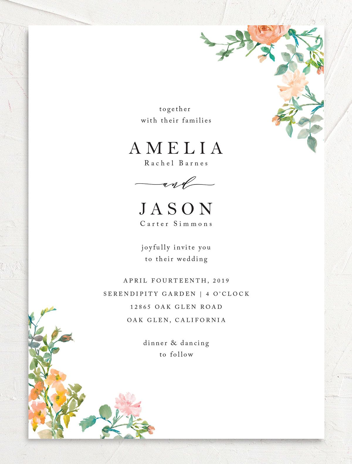 Minimal Floral Wedding Invite front