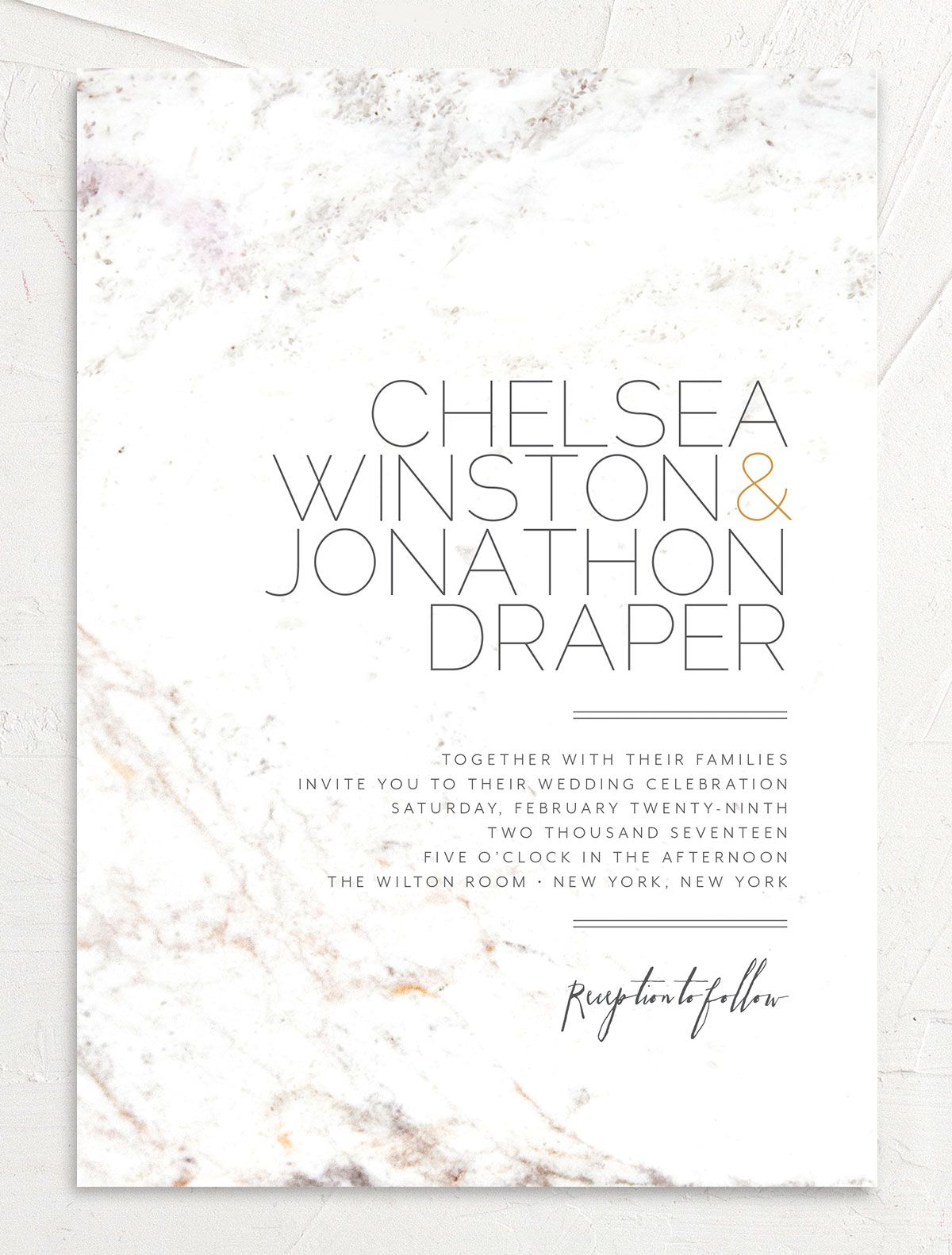 Mod Marble wedding invitation front