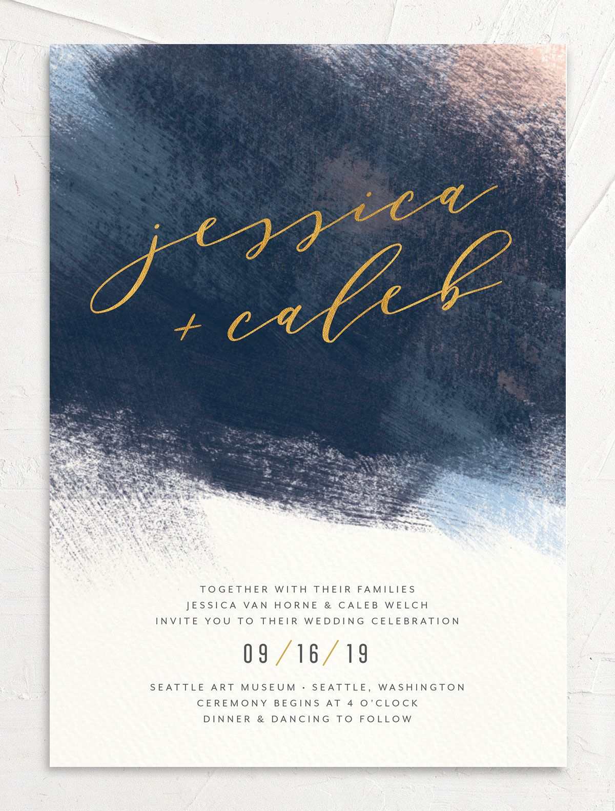 Modern Brushstroke wedding invitation front