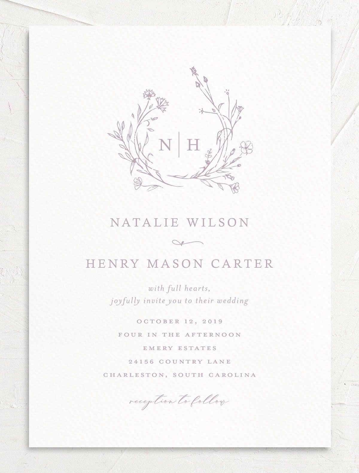 Natural Monogram Wedding Invitations The Knot