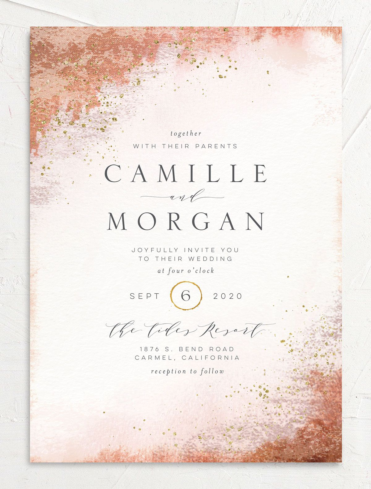 organic luxe wedding invites in peach