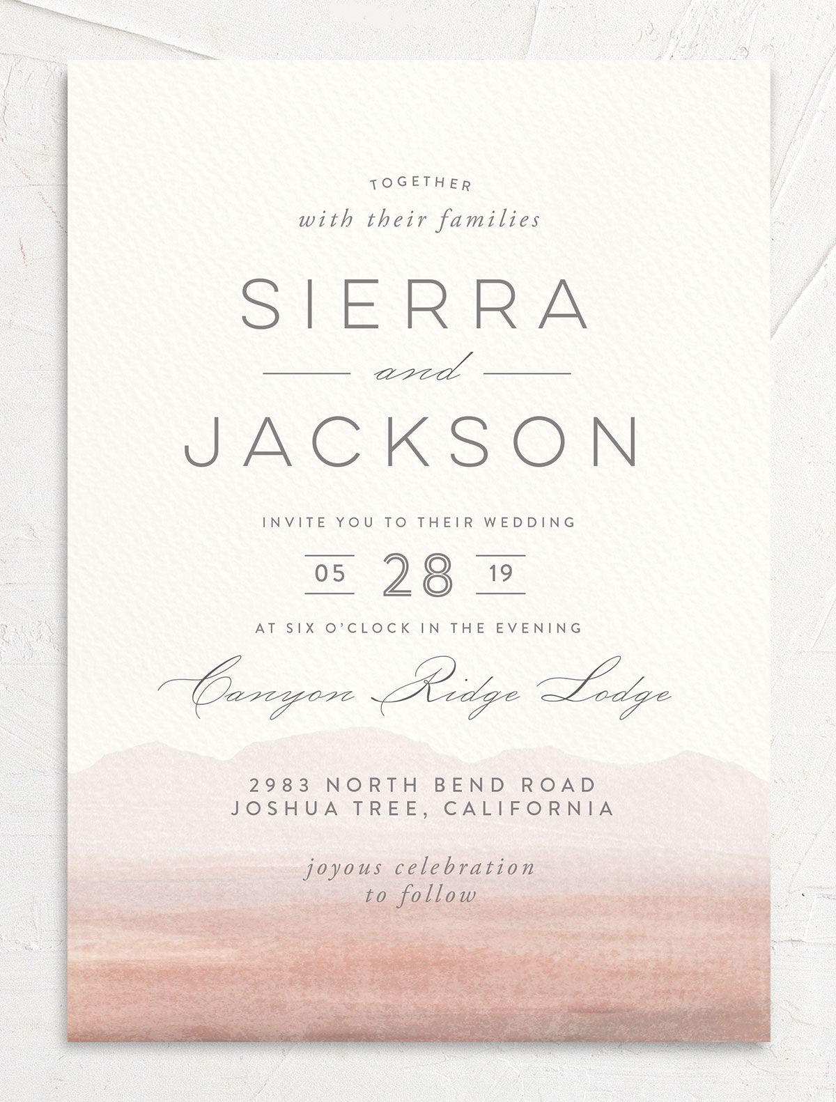 painted desert wedding invitations in pink
