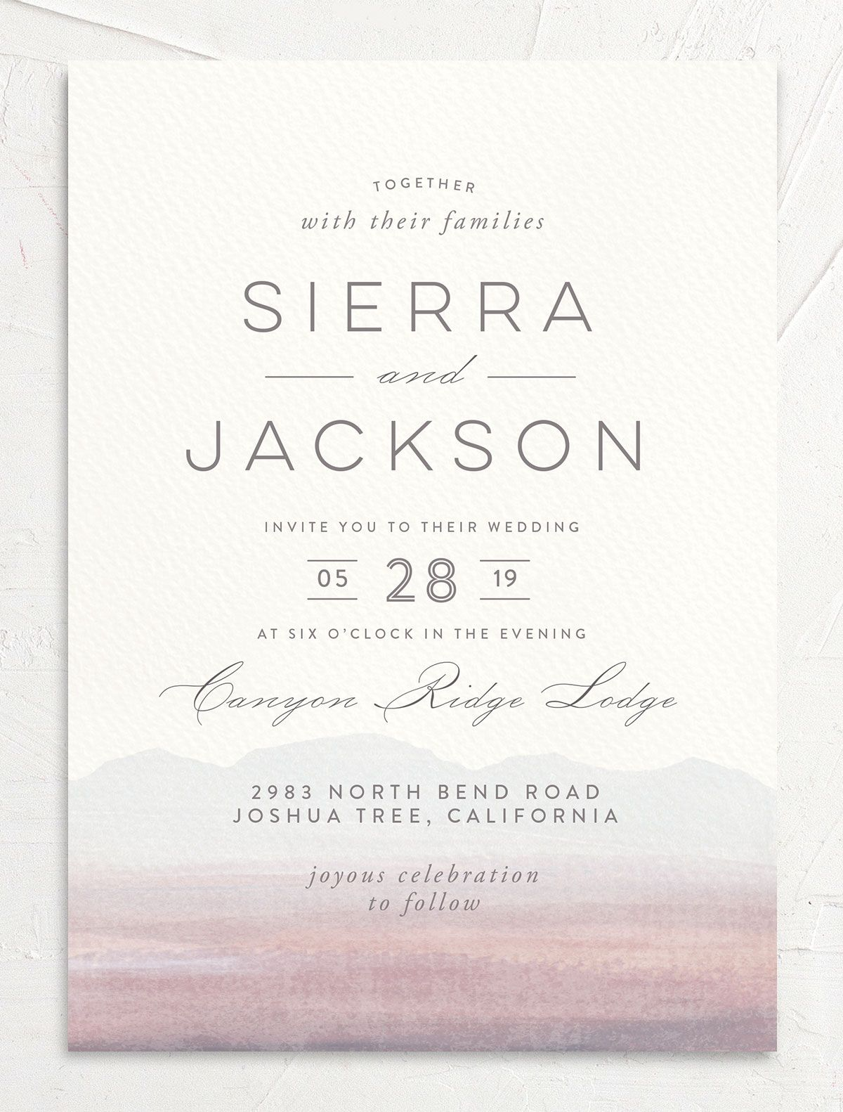 painted desert wedding invitations in purple