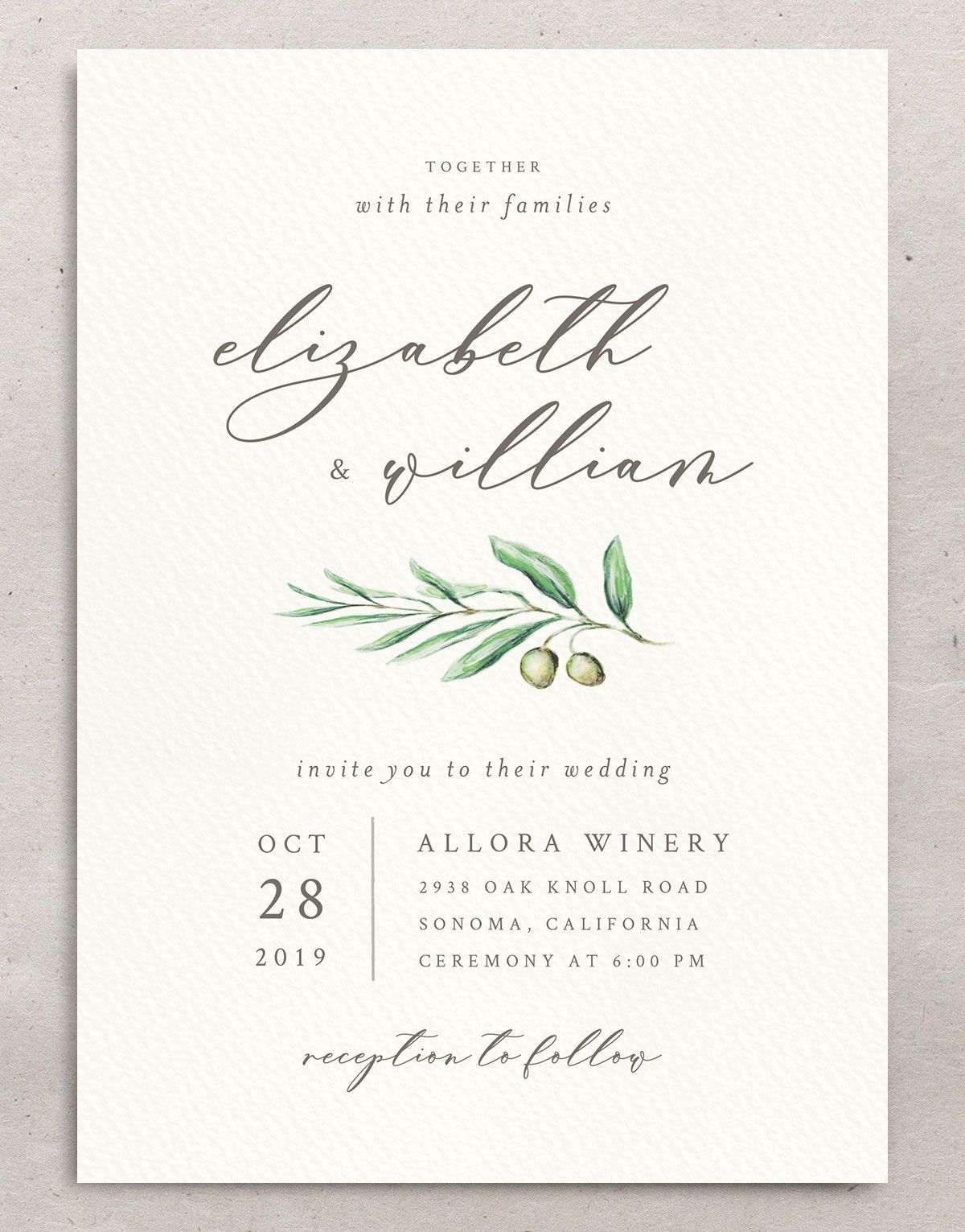 Painted Winery wedding invitation front