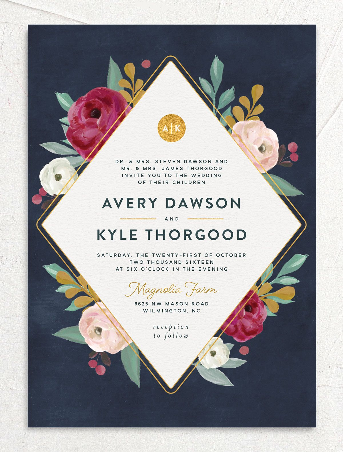 Painterly Blooms wedding invitation front