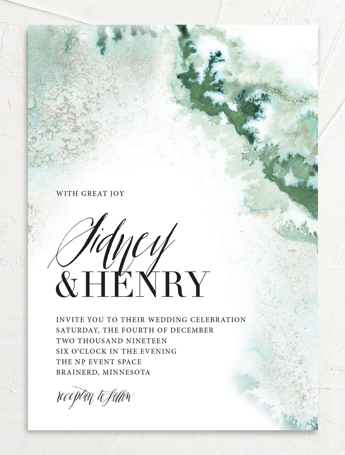 painted ethereal modern wedding invitations in green