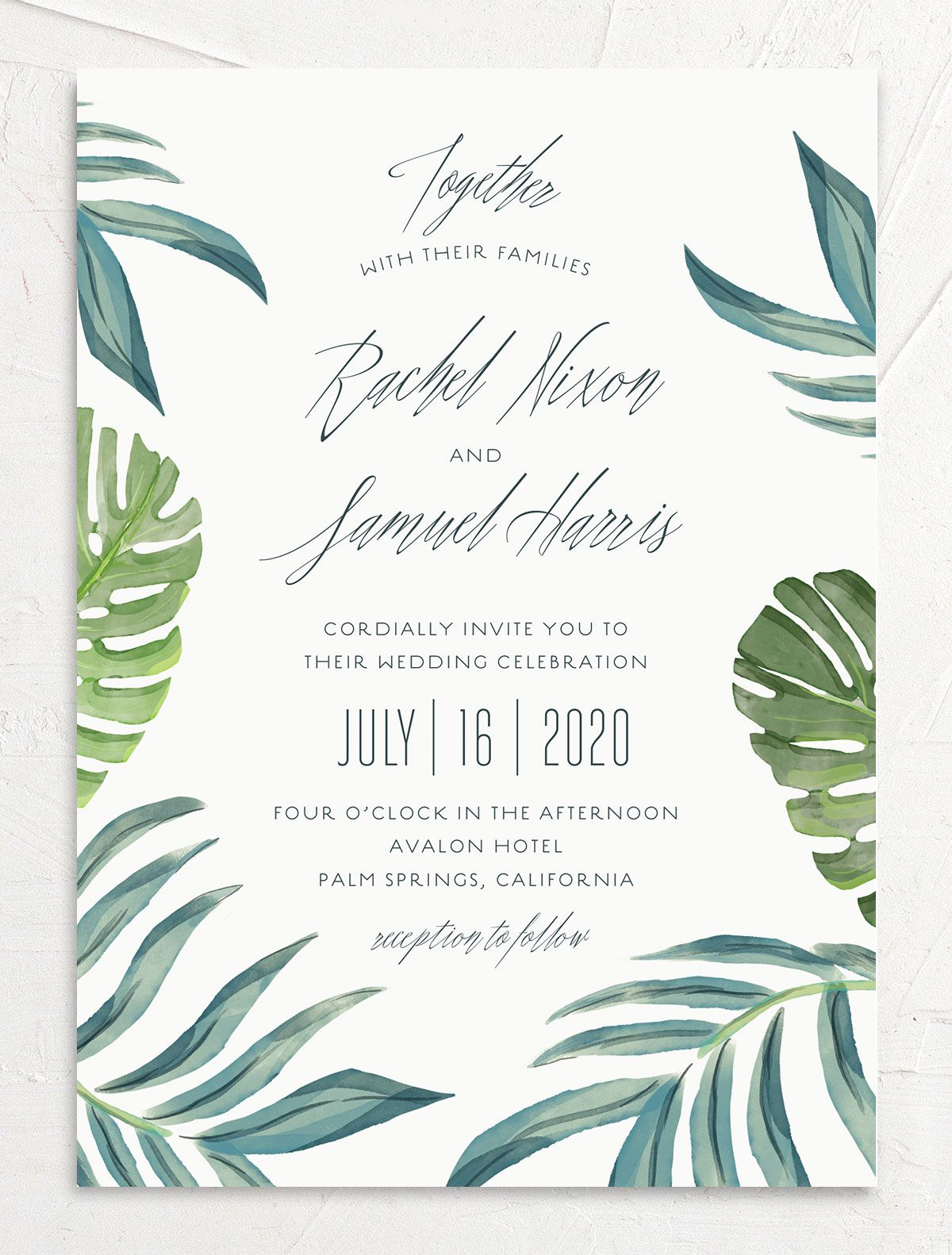 Romantic Palm wedding invitation front