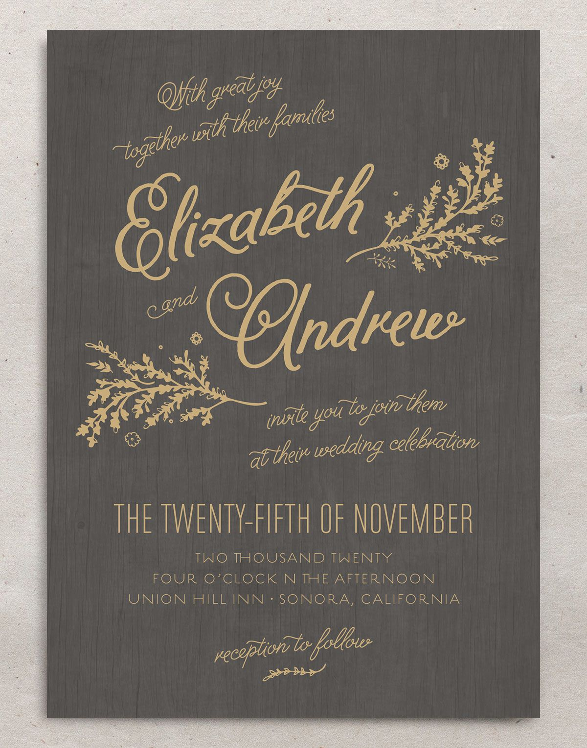rustic chic wedding invitations in gold