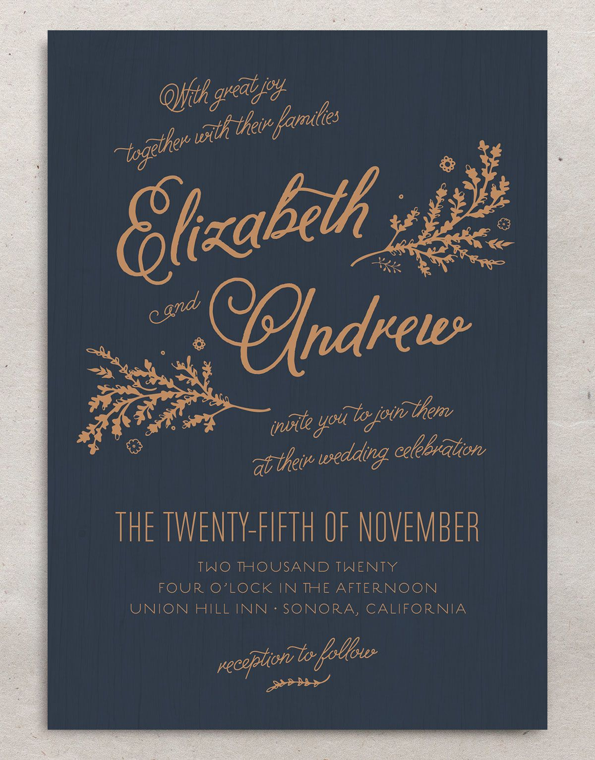 rustic chic wedding invitations in navy
