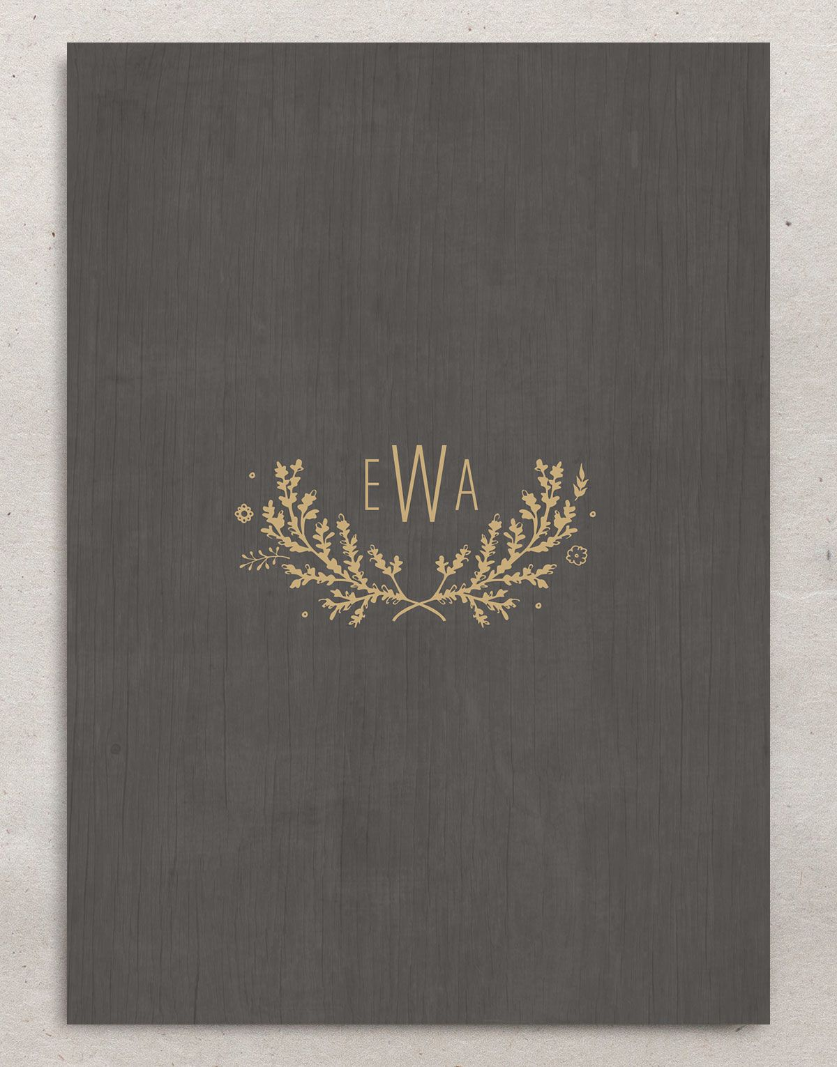 rustic chic wedding invitations in gold back