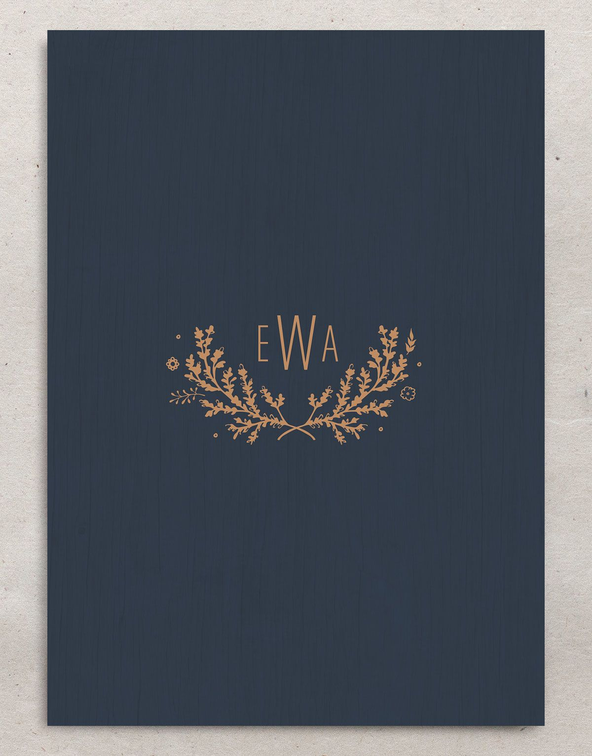 rustic chic wedding invitations in navy back