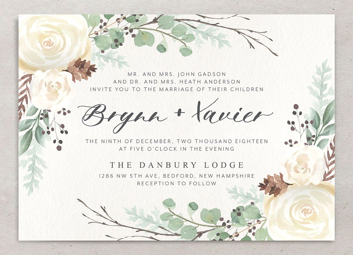 Rustic Botanical Wedding Invitation