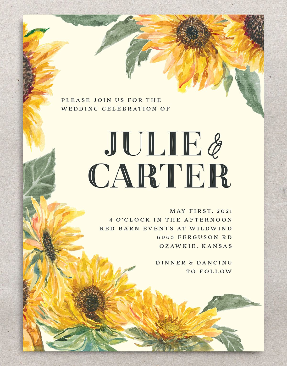 sunflower themed wedding invitations