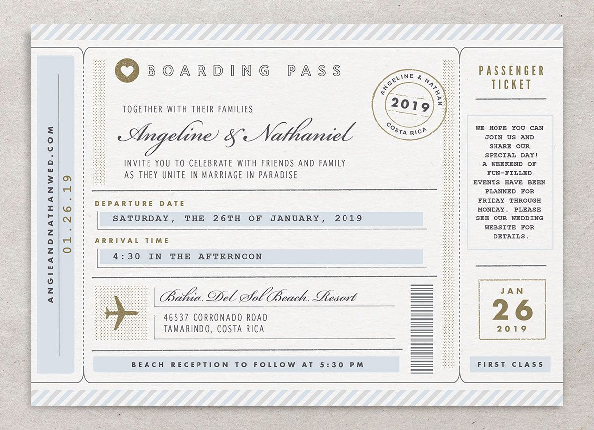 Vintage Boarding Pass wedding invitation front blue