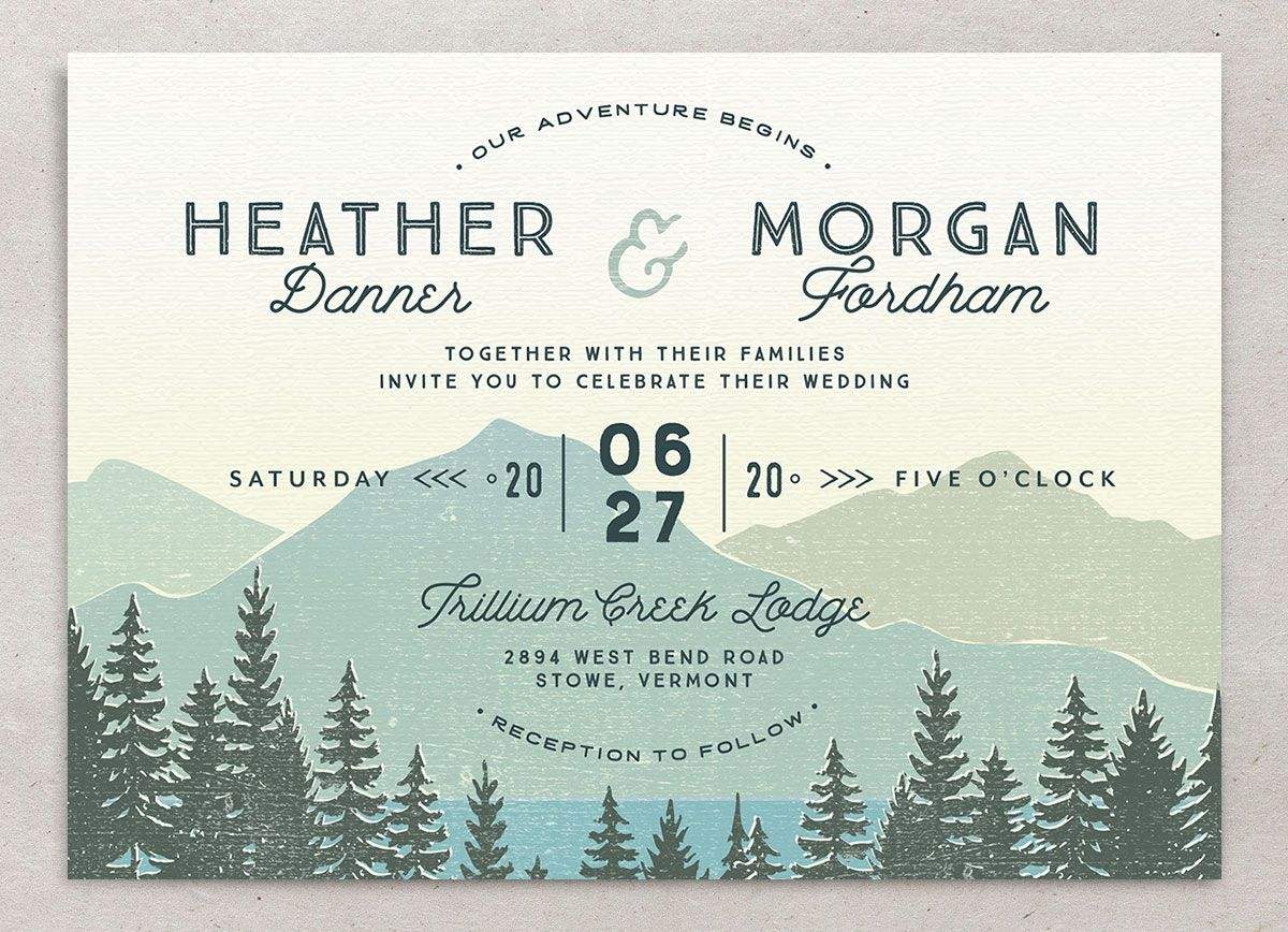 Vintage Mountain wedding invitation front
