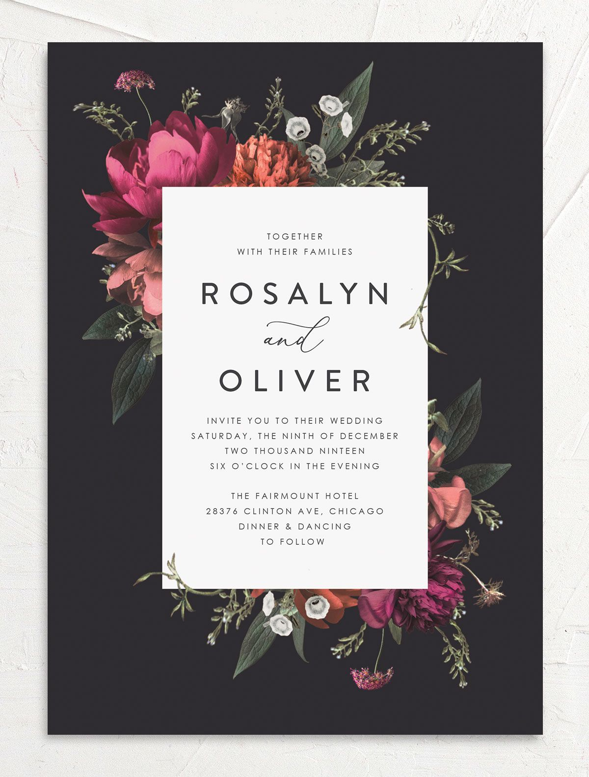 Blooming Botanical wedding invitation black front