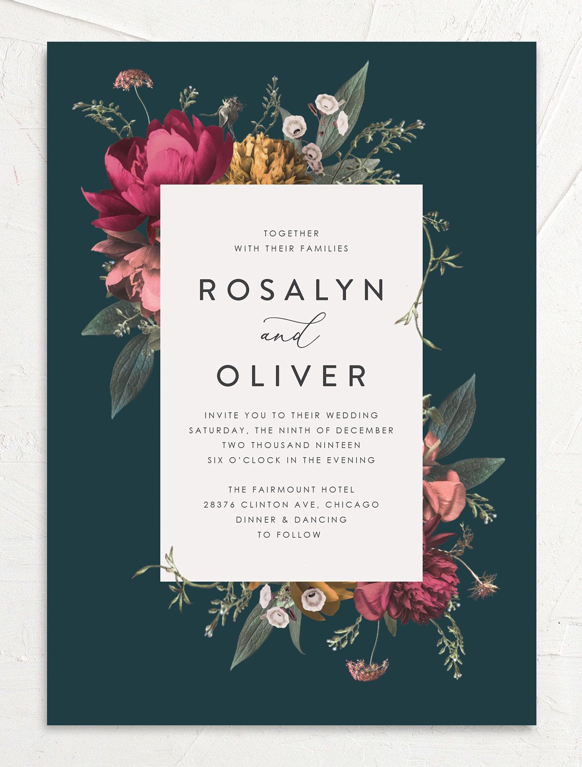 Blooming Botanical wedding invitation front