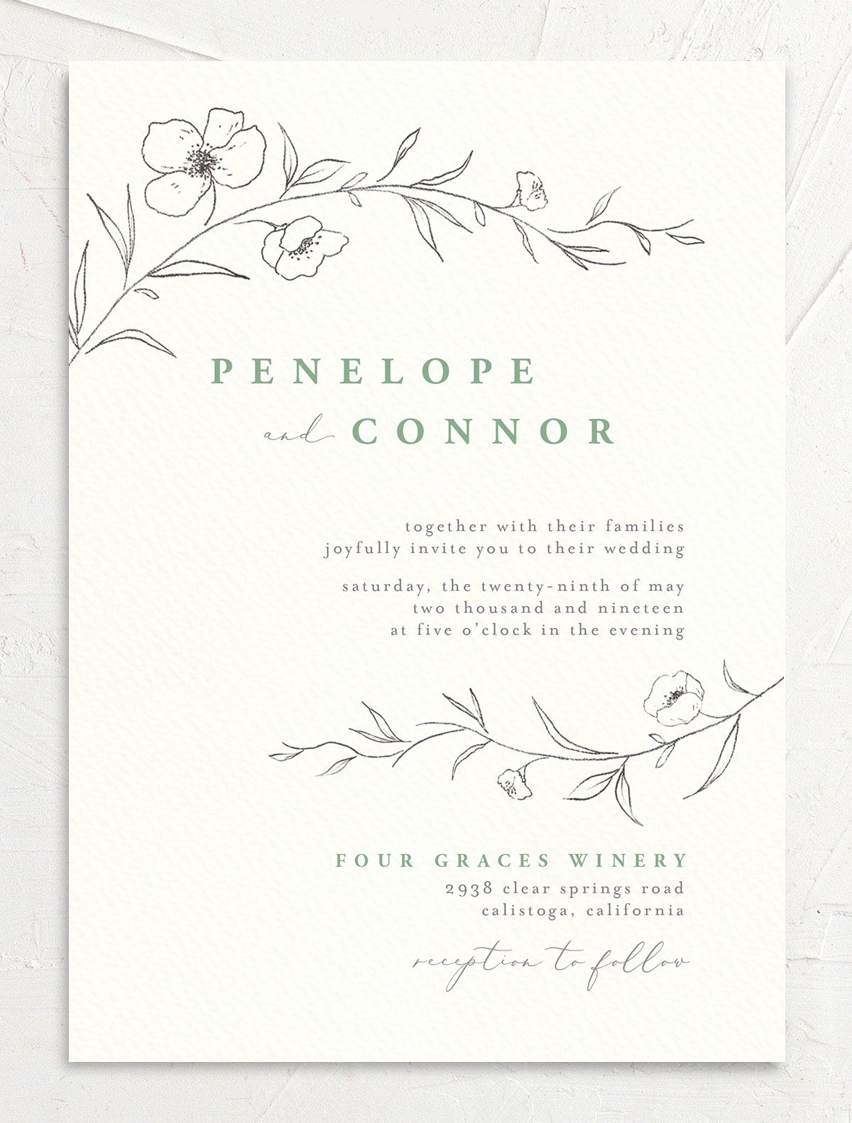 graceful botanical wedding invitations in green