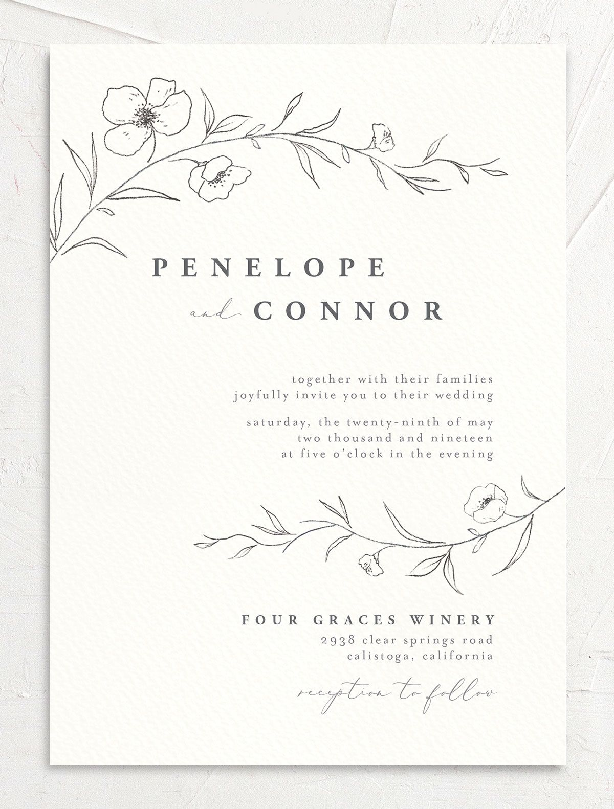 graceful botanical wedding invitations in grey