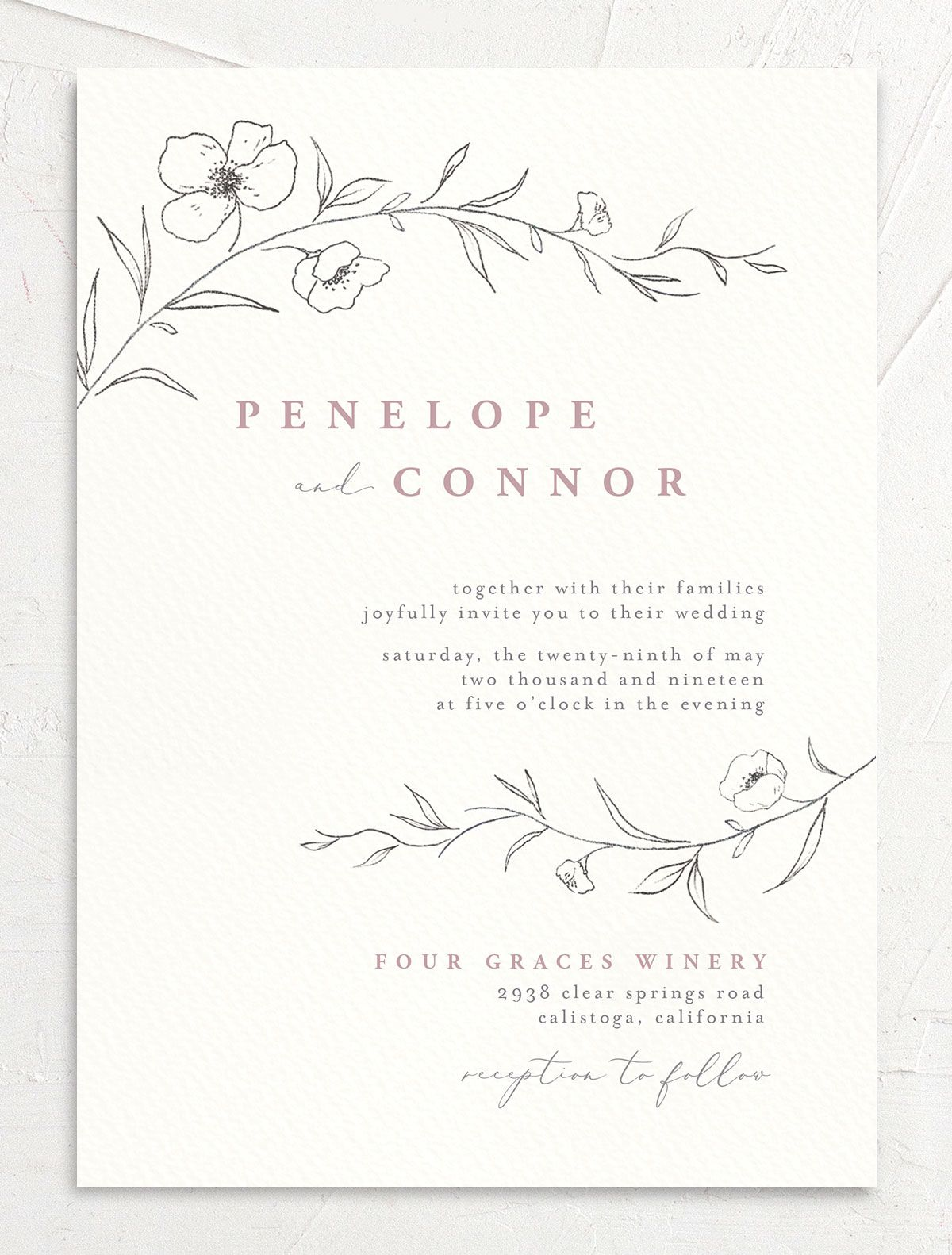 graceful botanical wedding invitations in pink