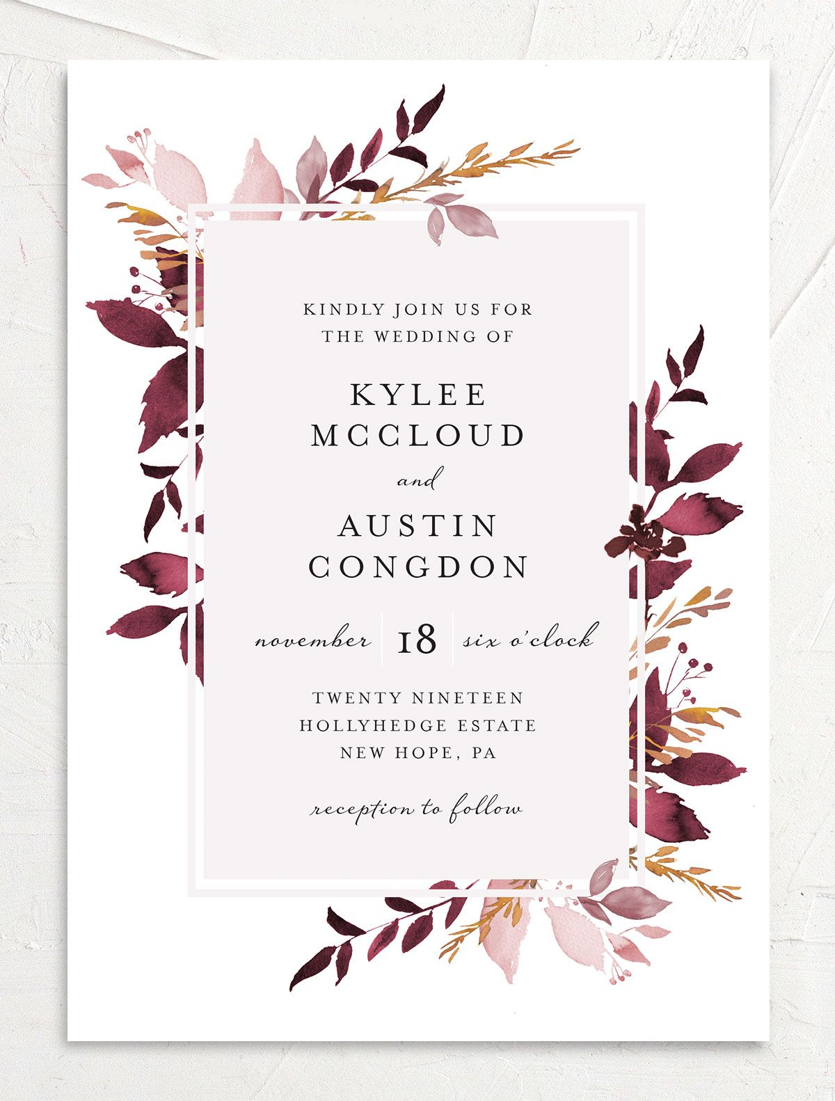 leafy frame wedding invitations in burgundy