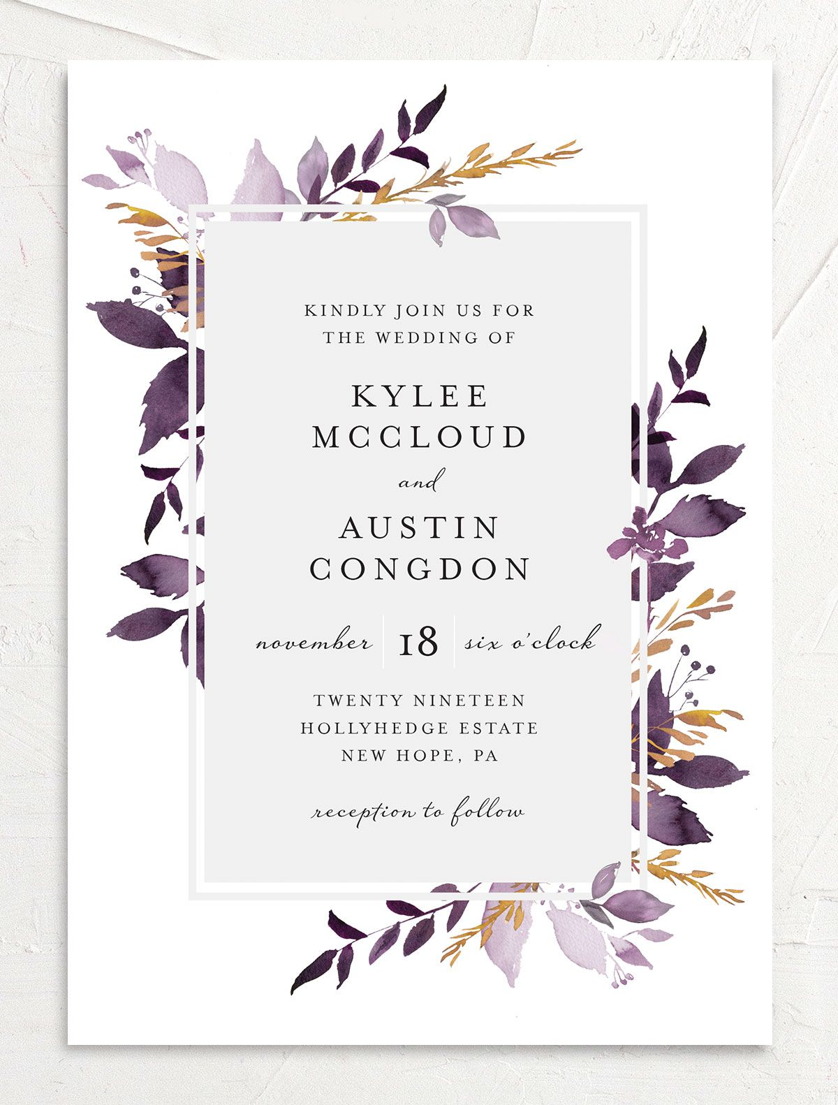 leafy frame wedding invitations the knot usd