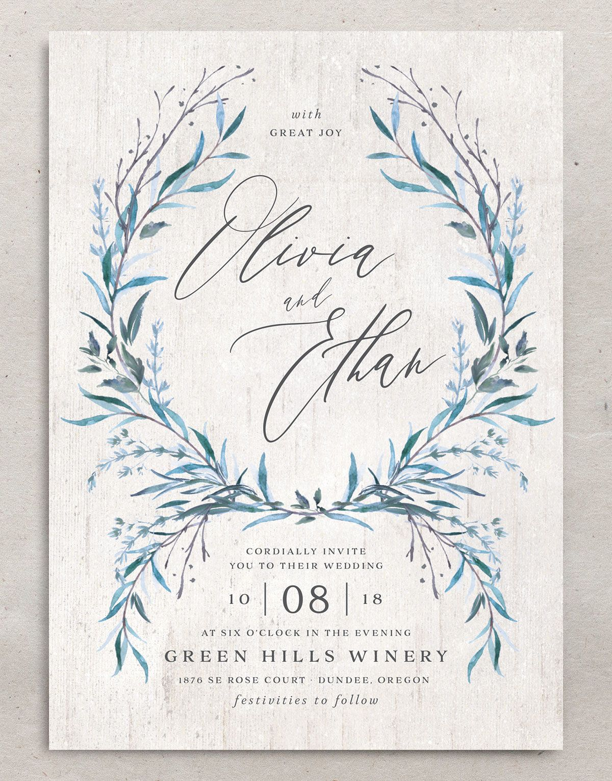 Natural Laurel wedding invitation front