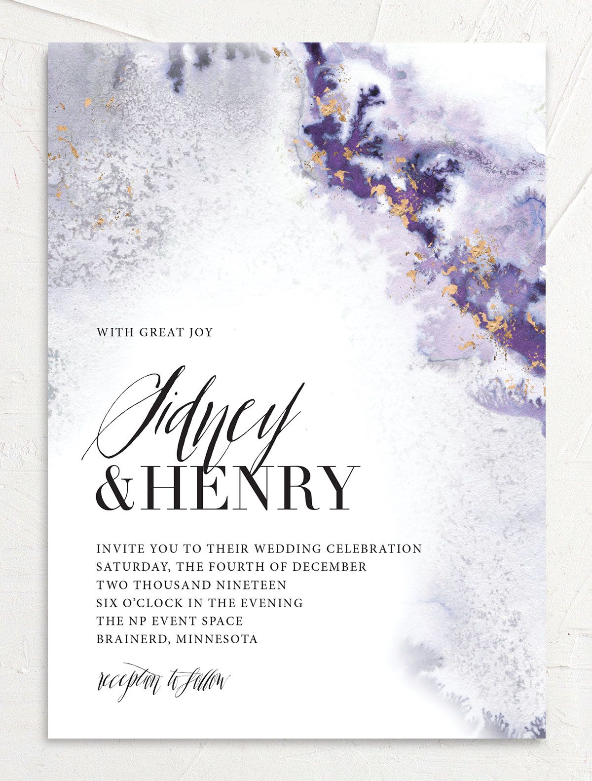 painted ethereal modern wedding invitations in purple