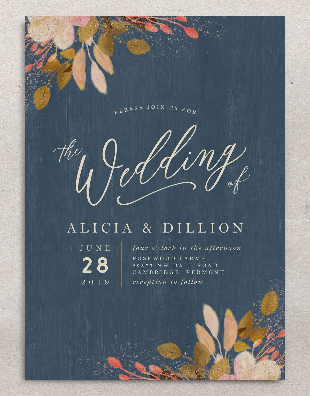 Rustic Leaves Wedding Invite