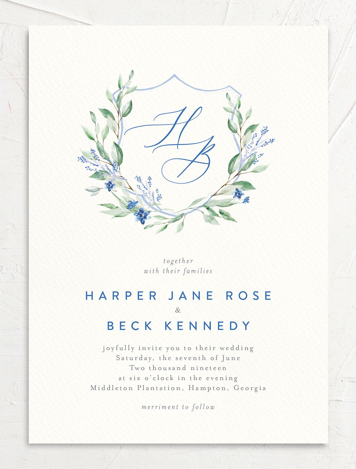 watercolor crest wedding invites in blue