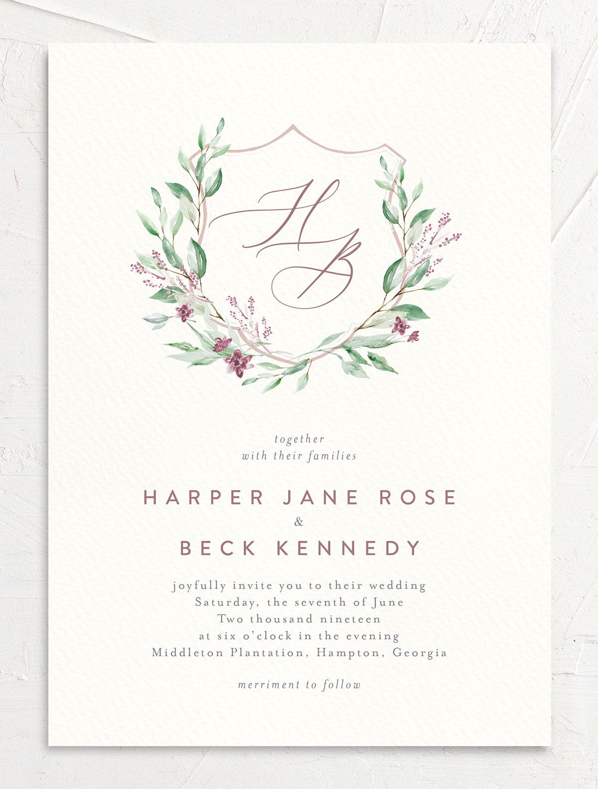 watercolor crest wedding invites in pink