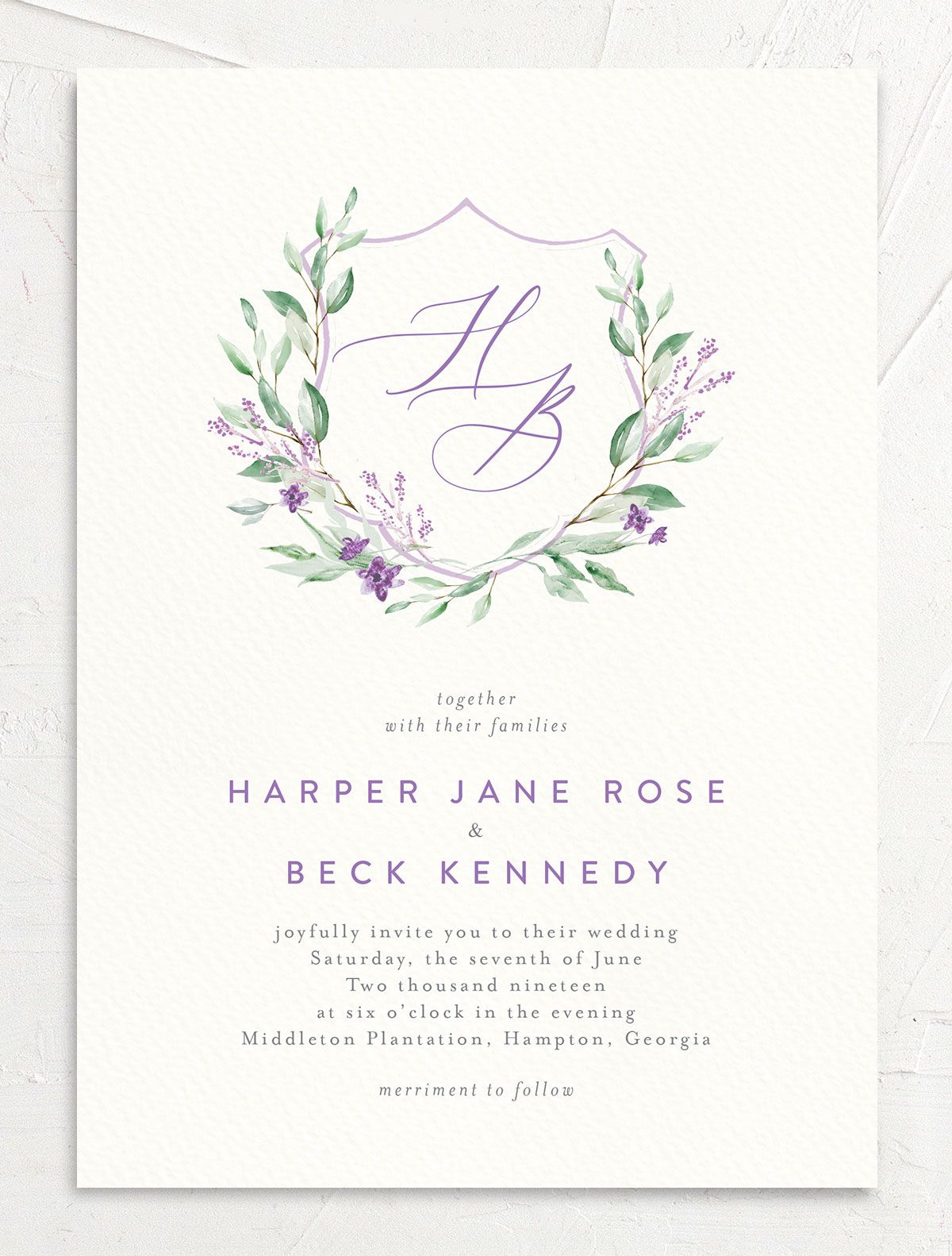 watercolor crest wedding invites in purple