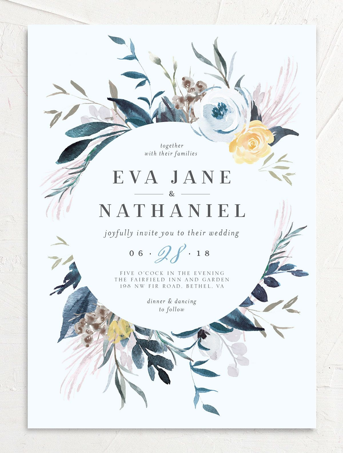 Wild Wreath Wedding Invitation in blue