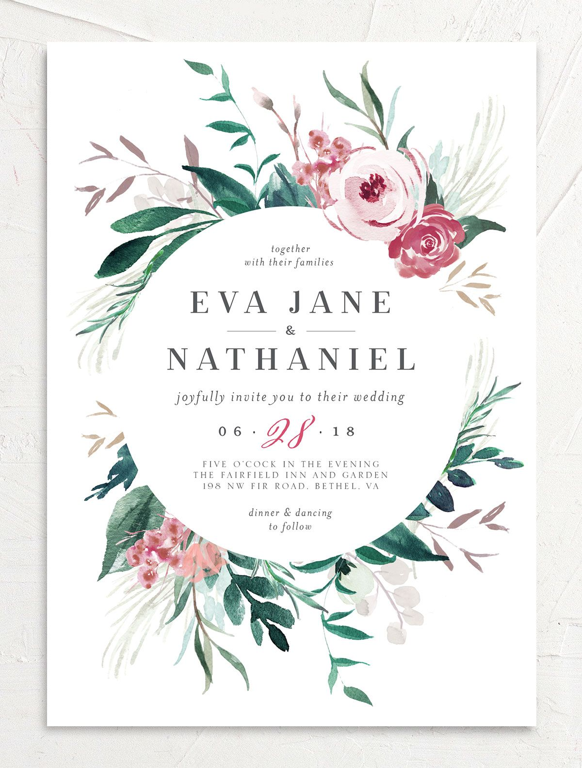 Wild wreath wedding invite in green