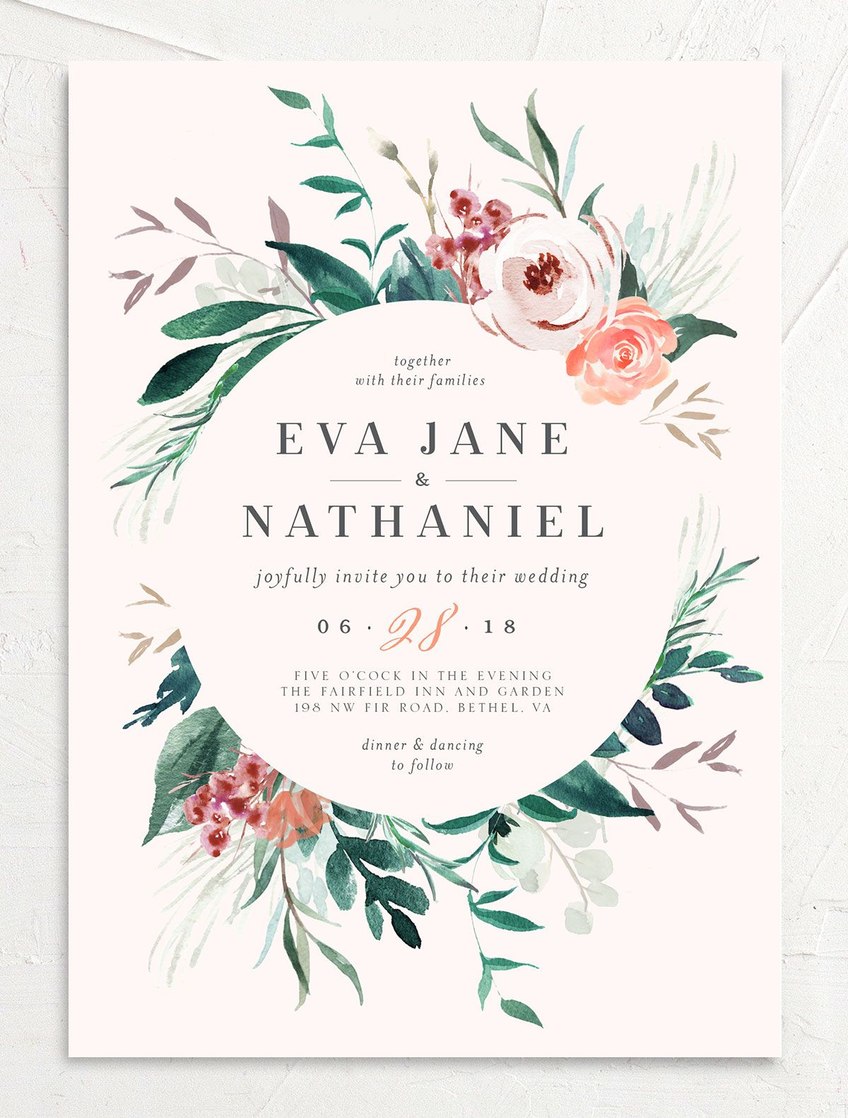 Wild Wreath Wedding Invitation