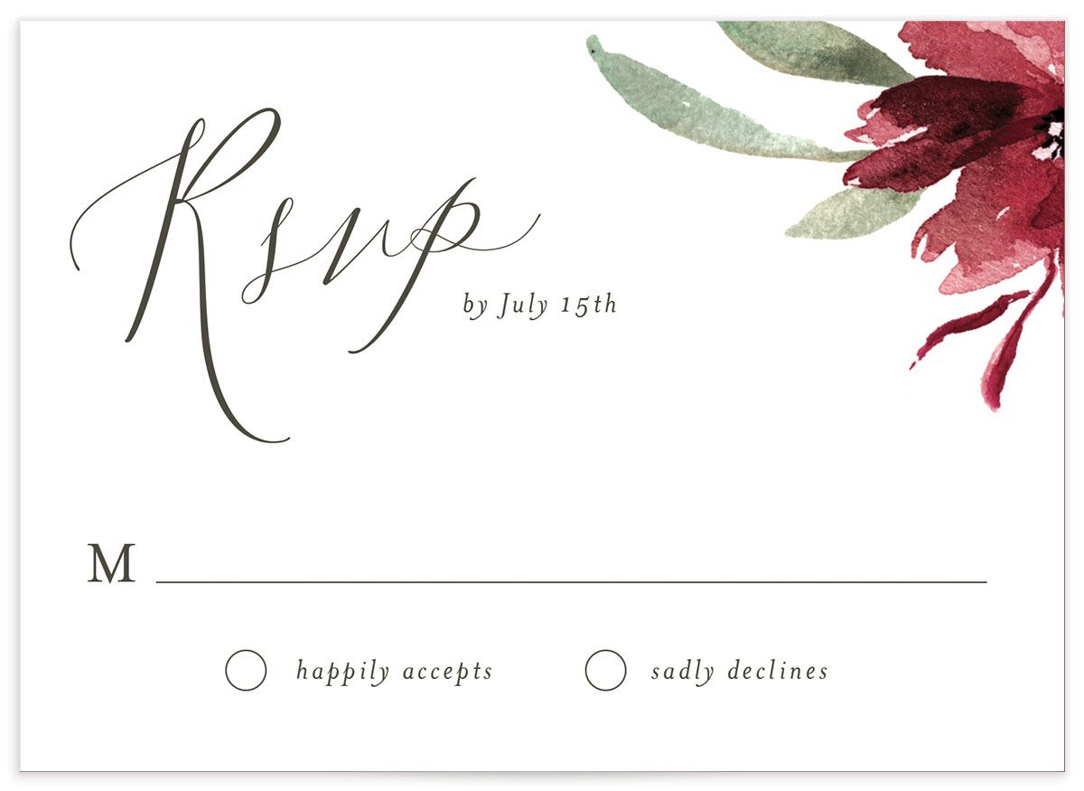 muted floral wedding rsvp cards in burgundy