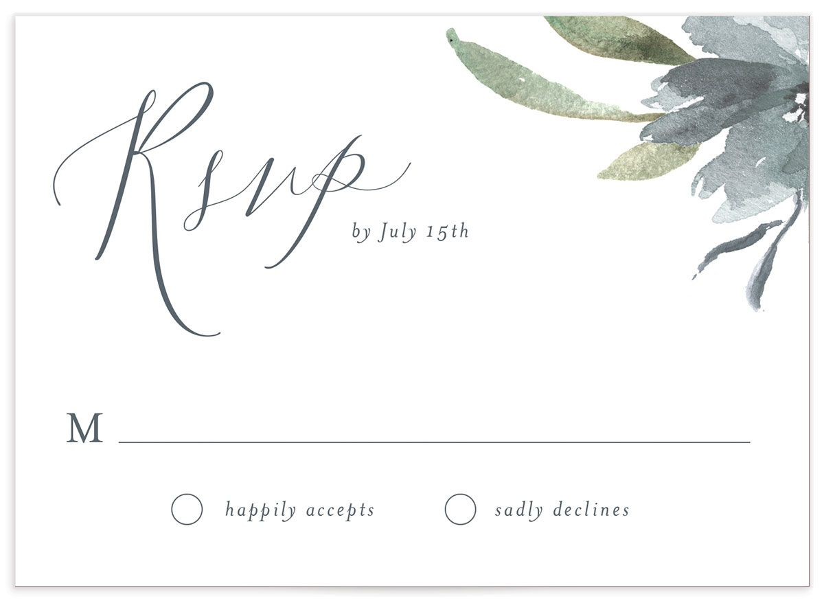 muted floral wedding rsvp in dusty blue
