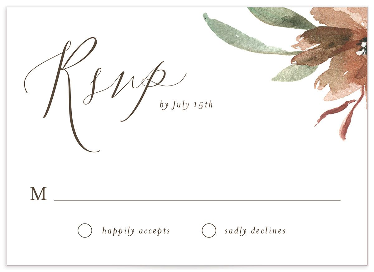 muted floral wedding rsvp cards in copper