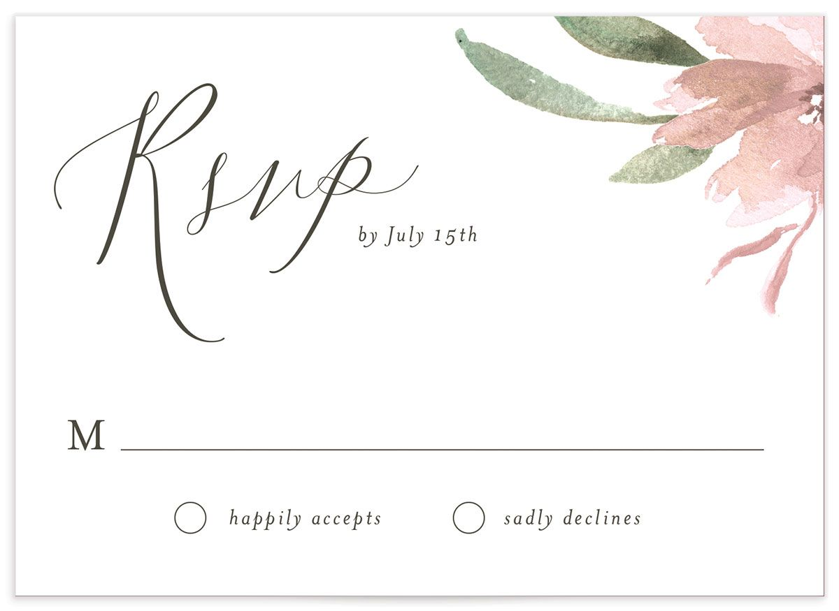 muted floral wedding rsvp cards in blush pink