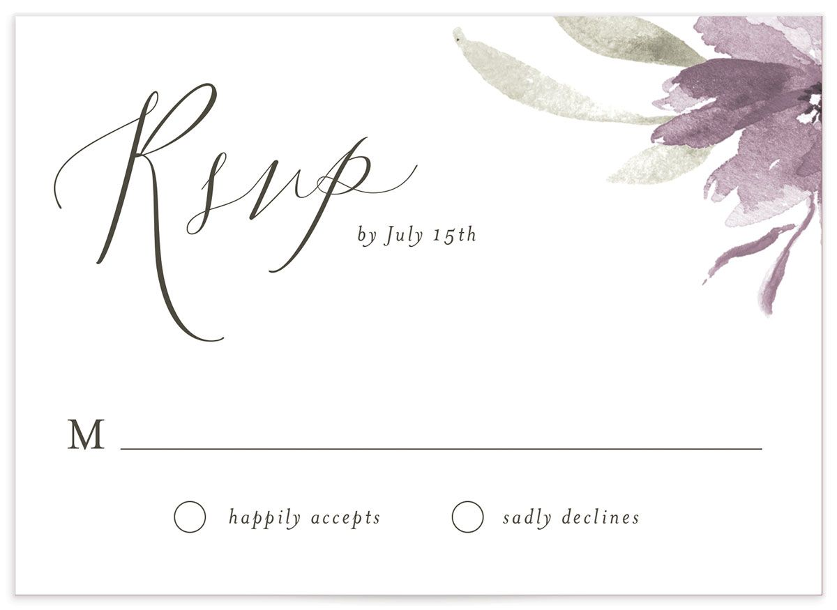 muted floral wedding rsvp cards in purple